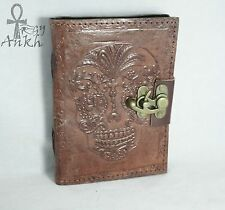 Day of the dead handmade Blank book of shadows leather bound journal Wicca- 5x7