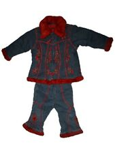 Baby Girl Pampolina Winter Denim Jacket Coat Pants Set Size 80 12/18 Months