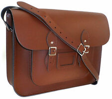 Large Men Women Real Italian Leather Satchel School Shoulder Crossbody Bag Brown