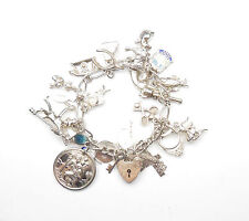 """VINTAGE timbrato 925 argento Sterling Charm anni 1970 Bracciale & Charms 60.6g 6"""""""