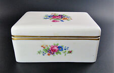 LENOX ROSE PORCELAIN HAND PAINTED TRINKET BOX MADE IN USA MARKED 2424/J300 (E31)