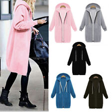Ladies Hoodie Sweatshirt Zip Up Plain Jacket Hooded Womens Jumper Hoody Coat Top