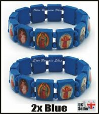 2X BLUE Wooden Elasticated Saints Bracelet Jesus Wristband Religious Saints NEW