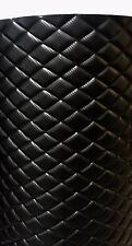 "Vinyl Upholstery black CARBON FIBER diamond Quilted fabric 3/8"" Foam Backing YDS"