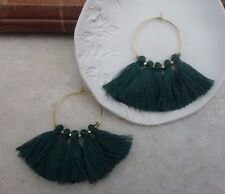 Boho Summer Earrings Emerald Green Tassel Fringe & Gold Plated Hoop urban chic
