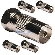 5 x FEMALE COAX SOCKET to F TYPE MALE PLUG TV Aerial Sky Connector Adapter