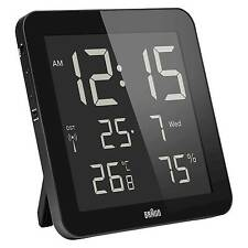 Braun Bnc014 Black Global Radio Controlled Digital Wall Clock