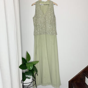 $240 J Kara Beaded Sleeveless Chiffon Formal Mother Of The Bride Dress/Gown Sz14
