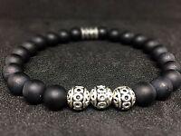 Onyx matt Armband Bracelet Perlenarmband Silber Beads 8mm