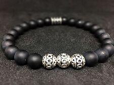 Onyx Matte Bracelet Pearl Bracelet Silver Beads 0 5/16in