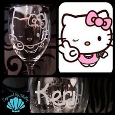 Personalised Hello Kitty Wine Glass Gift! Handmade Any Name Engraved For Free!