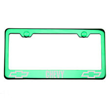T304 Green Chrome License Plate Frame Stainless Steel Silver Chevy Laser Etched