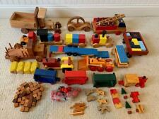 150 Piece Huge lot of Wood Wooden Handcrafted Cars Trains Blocks Trucks 1980s