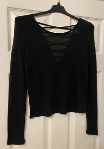 H&M Divided Medium Black Long Sleeve Thin Jumper Back Cutout Sexy Top Going Out