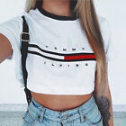 Sexy Women Summer Short Sleeve Tee Blouse Casual Crop Tops Letter Print T-Shirt