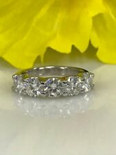 2.50 Ct Moissanite 5 Stone Wedding Anniversary Band Ring 14k White Gold Finish
