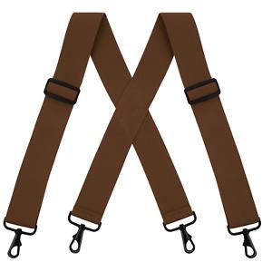 Buyless Fashion Suspenders - 48' Elastic Adjustable 2' Wide - X Back Black Hooks