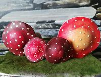 Wunderschön!! Große schwere Holzpilze Pilze Wald Jahreszeitentisch Handbemalt