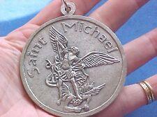 "Large ARCHANGEL ST MICHAEL Protection 2-3/8"" Across Saint Medal Prayer Italy"