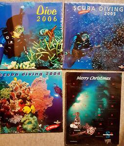 Scuba Diving Vintage 3 Scubapro Pictur Calendar + 1 Christmass Calendar