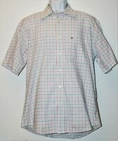 Tommy Hilfiger Short Sleeve Shirt - Red White & Blue Plaid - Men's Button Up  L