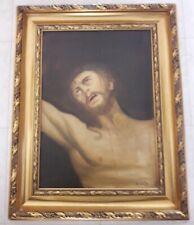 Quadro Sacro Con Cornice Noce Il Volto Di Cristo Misure 36x46 Cm Arredamento D'antiquariato