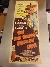 Charles Starrett The Kid From Broken Gun Original Insert Movie Poster #N1678