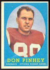 1958 TOPPS CFL FOOTBALL #26 DON PINHEY EX+ ROOKIE OTTAWA ROUGH RIDERS RC CARD