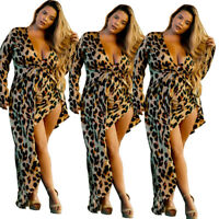 Sexy Plus Size Women's V Neck Long Sleeves Leopard Print Irregular Dress Club