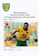 ROBERT SNODGRASS NORWICH CITY 2012-2014 ORIGINAL HAND SIGNED PHOTOGRAPH