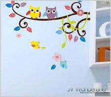 Owl Tree Removable Art Kids Mural Deco Wall stickers Vinyl Nursery Decal 1016