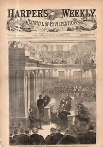 1869 Harpers Weekly March 20 - President Grant Inauguration; Howard university