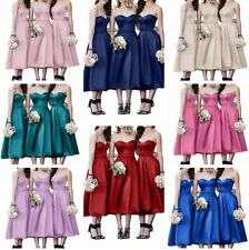 Sexy Tea Length Satin Bridesmaid Dresses Formal Party Gown Made Wedding Dress
