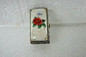 VINTAGE 1950'S  PILL BOX FLOWER ON ENAMEL METAL CASE