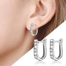 Women Jewelry White Gemstones Crystal Silver Hoop Earrings Fashion