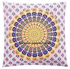 Indian Peacock Mandala Floor Pillow Bohemian Cushion Pillows Cover Case Cushions
