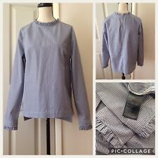 H&M Frilly Edges Blue And White Striped Keyhole Back Shirt Top Size-38/ 10 New