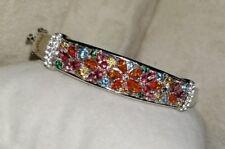 Alwand Vahan Pink-Blue-Orange Topaz Flower sterling silver Bangle bracelet $495