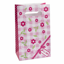 5 x Paper Party Bags Pink Flowers Girls Birthday Supplies Loot Treat Goody Gift