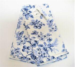 Set/2 April Cornell Cotton Kitchen Tea Towels Cherries Toile Blue - NEW