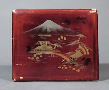 Antique Japanese Lacquered Box, Temple, Mount Fujiyama