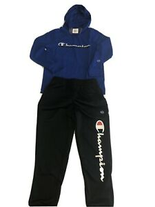 Boy's Champion Surf The Web Light Hoodie And Joggers Blue/Black 7/8 (163)