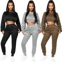 Women Solid Color Crew Neck Long Sleeves Winter Casual Sport Club Jumpsuit 2pc
