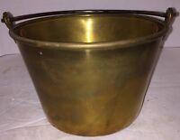Antique Spun Brass Bucket Iron Bail 1850 Connecticut Rat Tail Handle