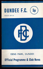 Dundee FC v Patrick Thistle Football Programme October 27 1971