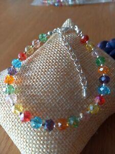 Sparkle rainbow multicoloured glass bead bracelet ~ adjustable