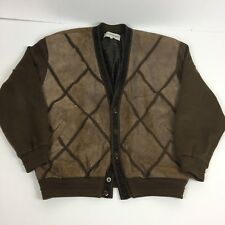 Vintage Deerskin Trading Company Cardigan Bomber Jacket Style Mens XL Leather