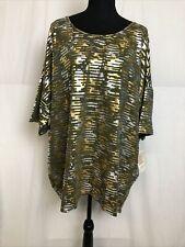 LuLaRoe Irma Gold Silver Short Sleeve T Shirt Size 3XL NWT