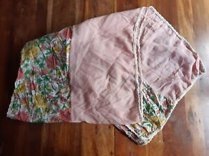 Lettuce Light Pink Peach Green Yellow Floral Cotton Scarf