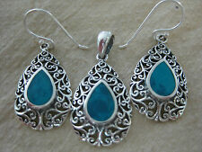925 STERLING SILVER TURQUOISE Filigree Teardrop Earrings & Pendant